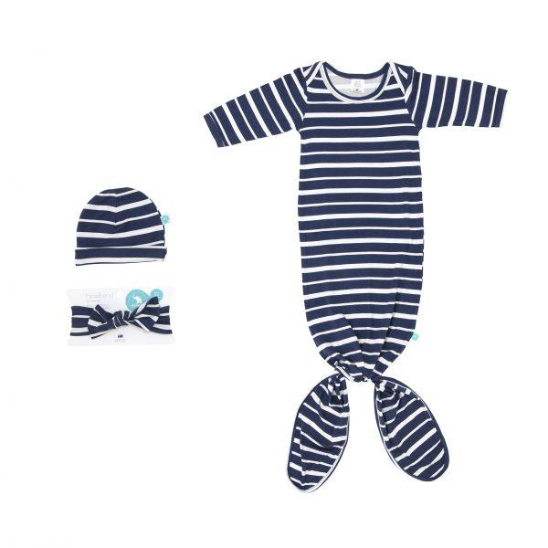 Load image into Gallery viewer, Knotted Onesie - Blue Stripe - Baby Luno