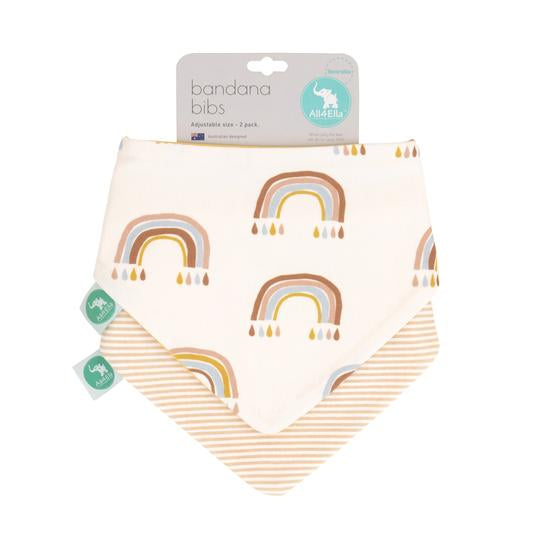Baby Bib - Reversible Bandana Rainbows 2-pack
