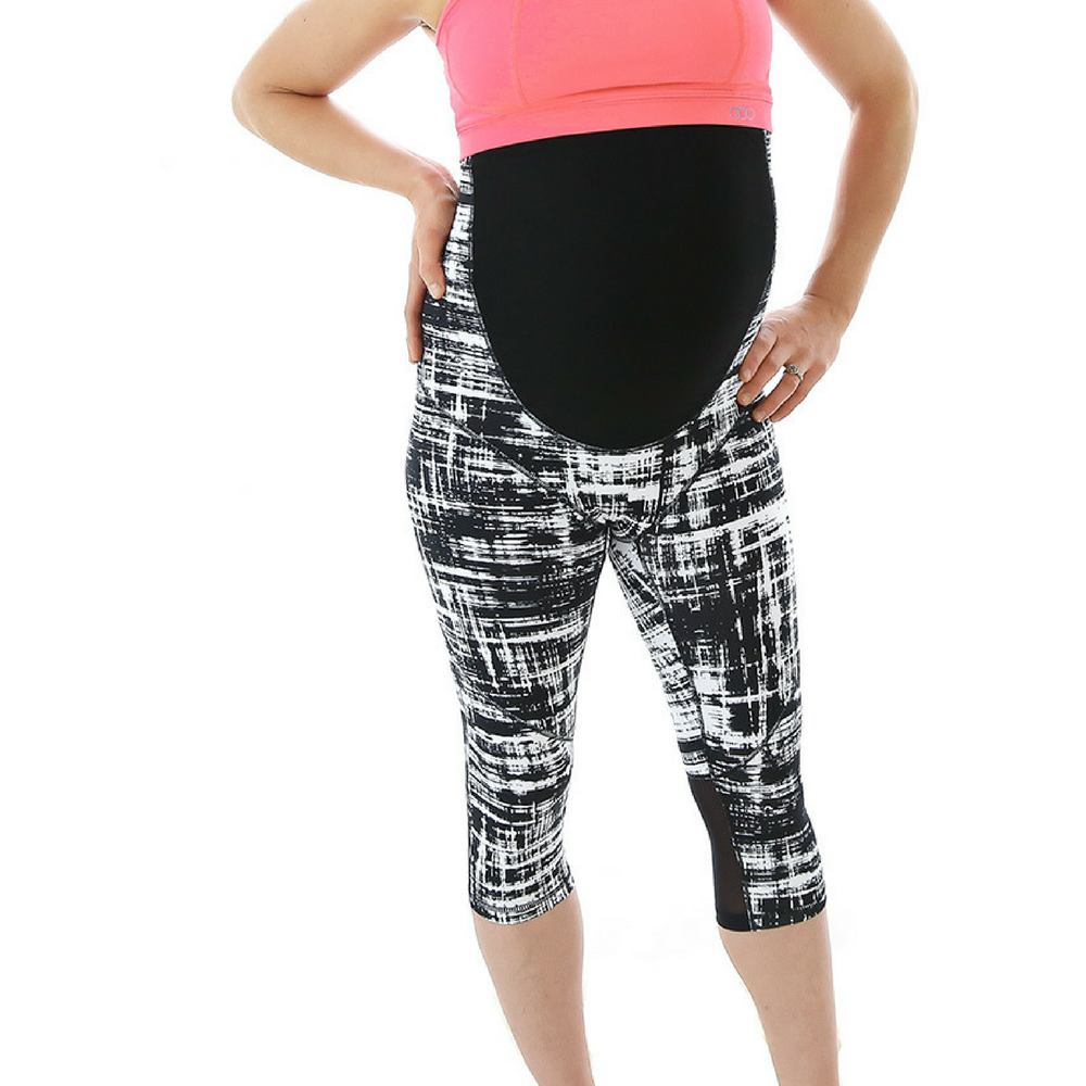 Maternity Leggings - Maze 3/4 Pregnancy Monochrome