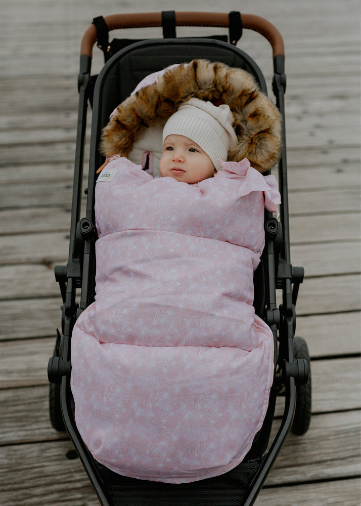 baby luno Nordic Footmuff - Pink Feather (PRE-ORDER)