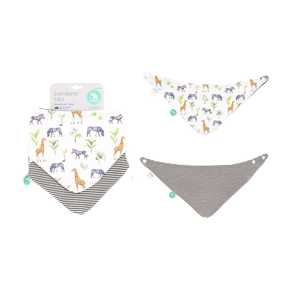 Baby Bib - Reversible Bandana Safari 2-pack