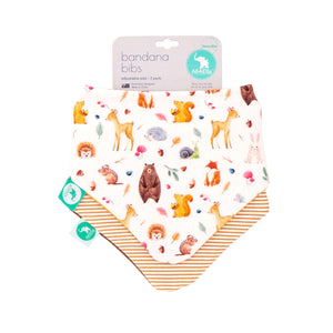Load image into Gallery viewer, Baby Bib - Reversible Bandana Forest 2-pack