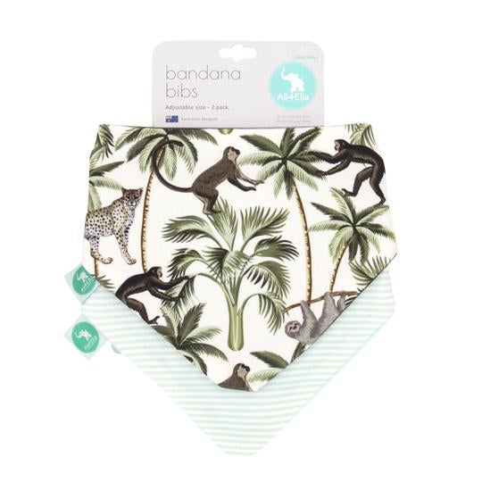 Baby Bib - Reversible Bandana Monkey 2-pack