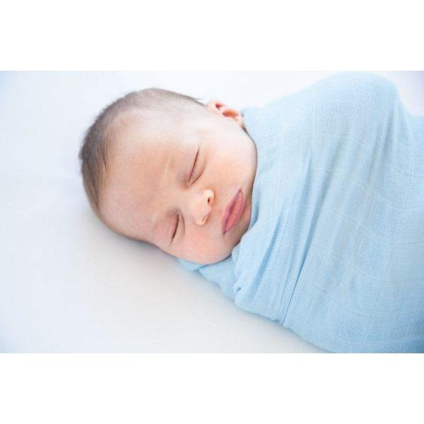 Baby Bamboo Swaddle Blanket - Basically Blue - Baby Luno