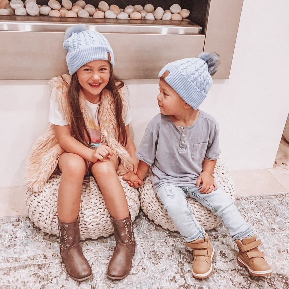 Beanie Knitted - Blue (Kids-Adults)