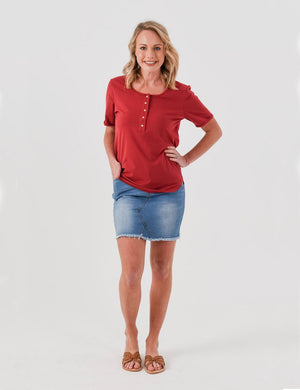 Brooke Button Front Short Sleeve Nursing Tee - Dark Red - Baby Luno