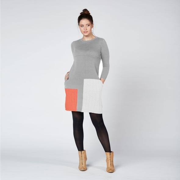 Colour Block Knit Nursing Dress Grey