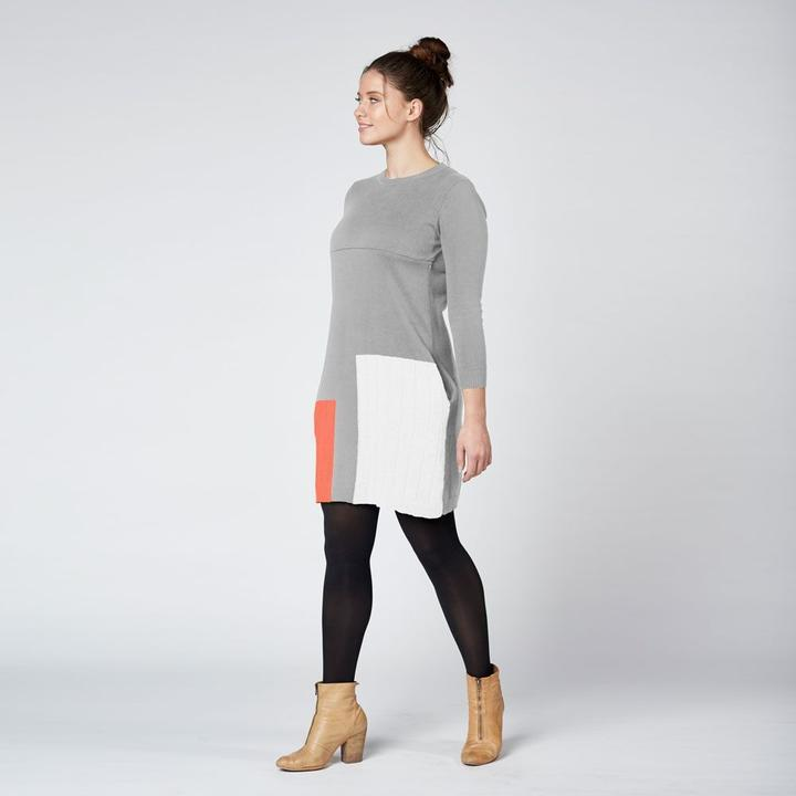 Load image into Gallery viewer, Colour Block Knit Nursing Dress Grey - Baby Luno