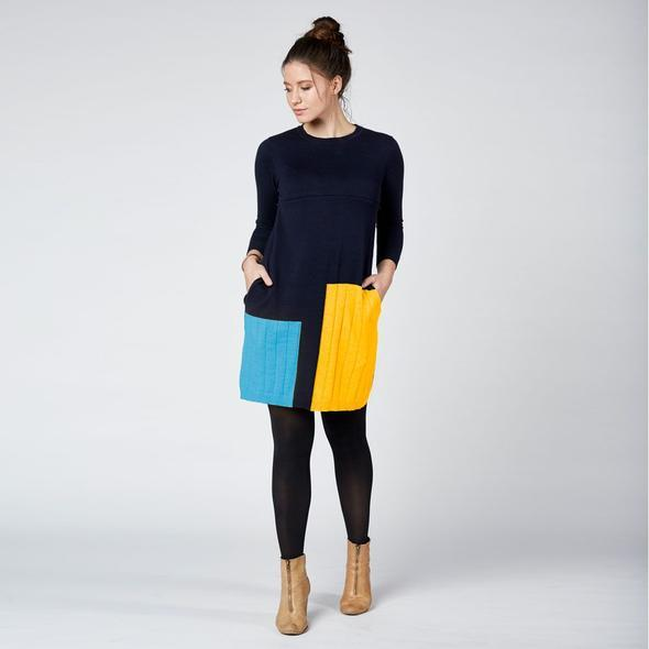 Colour Block Knit Nursing Dress Navy
