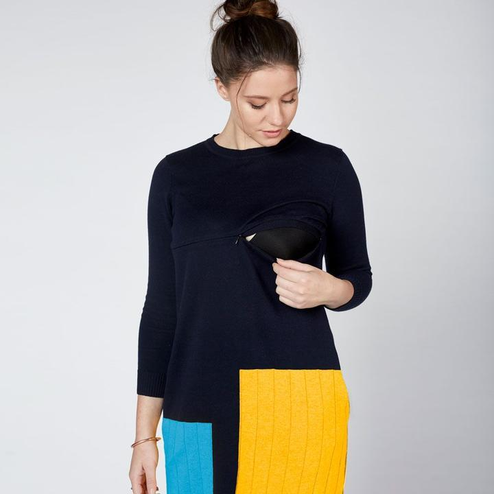 Colour Block Knit Nursing Dress Navy - Baby Luno