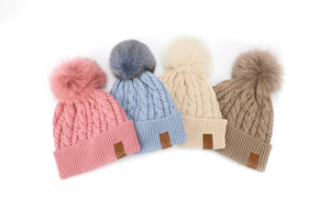 Beanie Knitted - Pink (Kids-Adults)