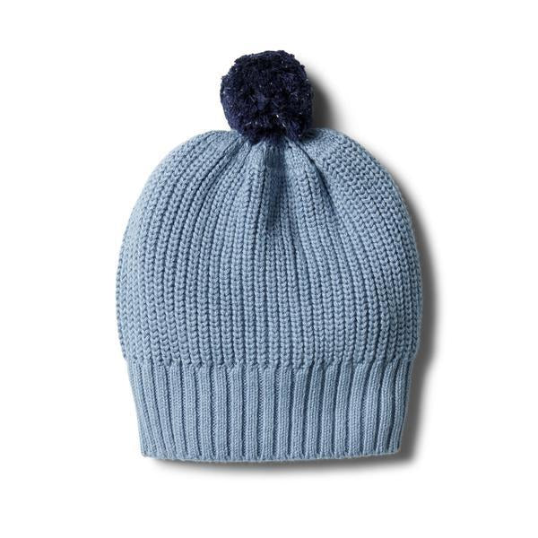 Baby Knitted Hat - Faded Denim Rib with Pom Pom - Baby Luno