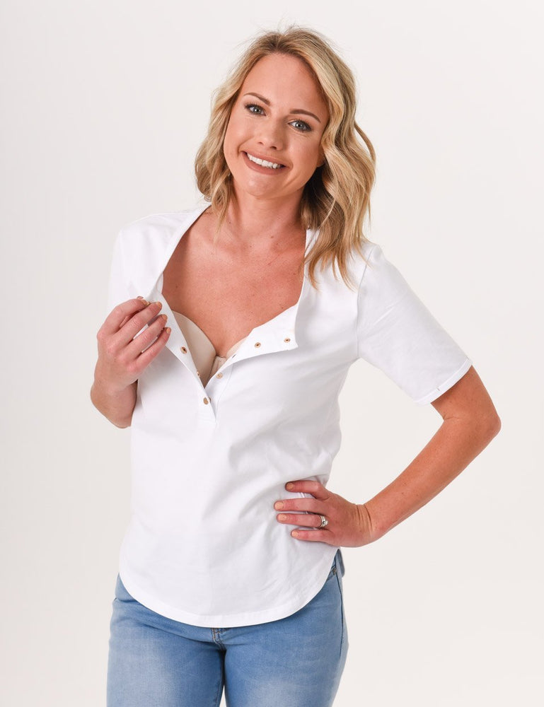 Brooke Button Front Short Sleeve Nursing Tee - White - Baby Luno