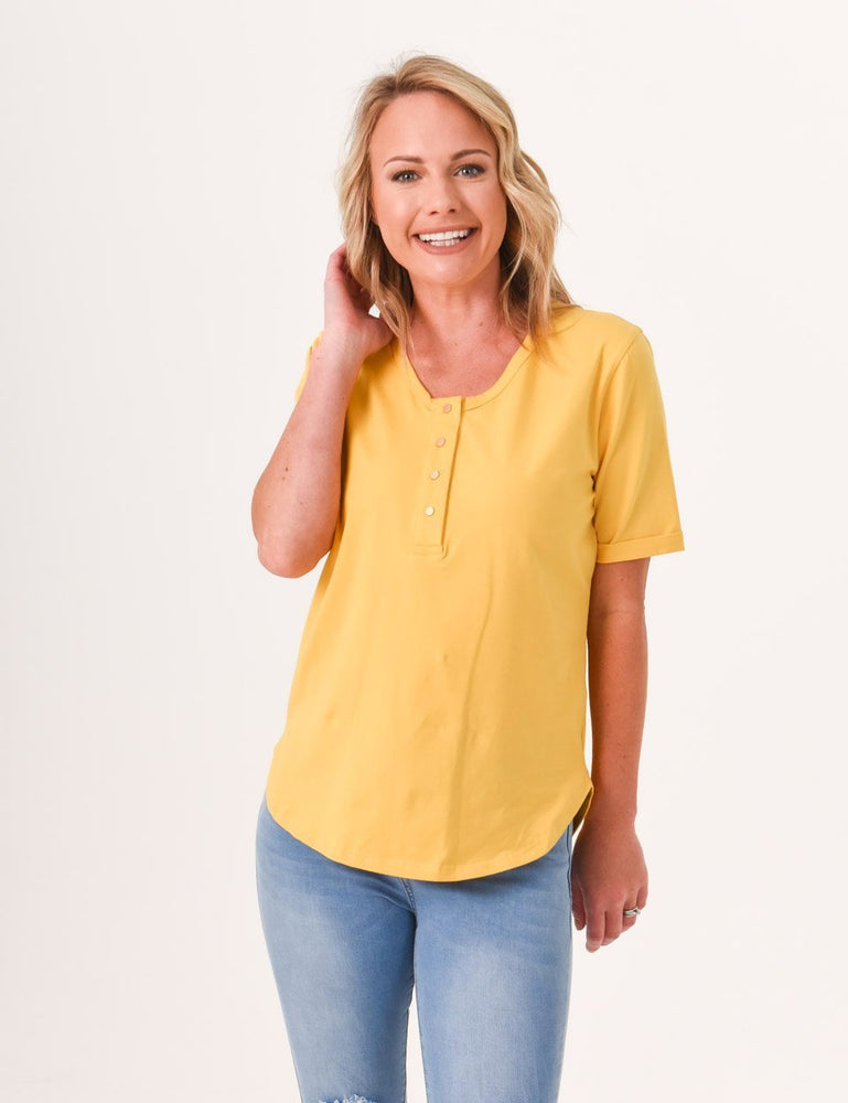 Brooke Button Front Short Sleeve Nursing Tee - Mustard - Baby Luno