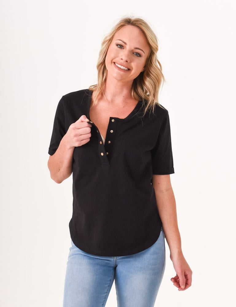 Brooke Button Front Short Sleeve Nursing Tee - Black - Baby Luno