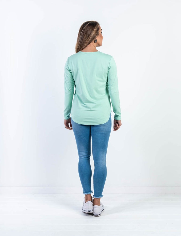 Brooke Button Front Long Sleeve Nursing Tee - Mint - Baby Luno