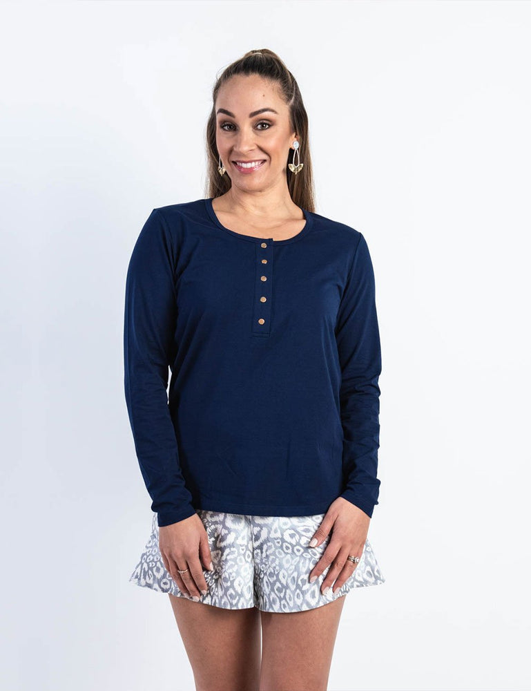 Load image into Gallery viewer, Brooke Button Front Long Sleeve Nursing Tee - Navy - Baby Luno