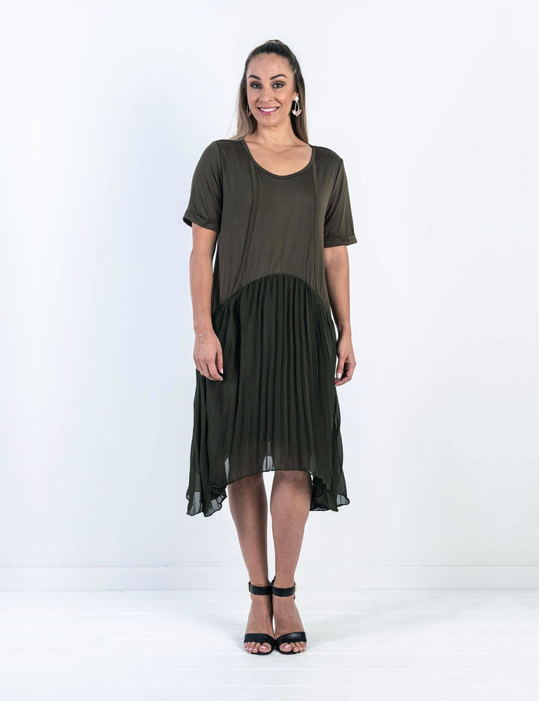 Cheryl Pleated Nursing Dress - Khaki - Baby Luno