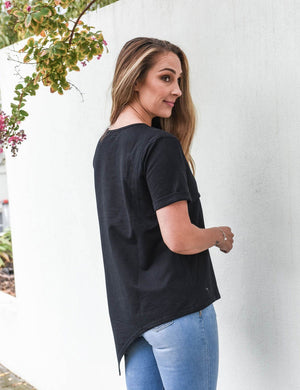 Load image into Gallery viewer, Henley Short Sleeve Asymmetrical Nursing Tee - Baby Luno