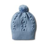 Baby Knitted Hat - Faded Denim with Baubles