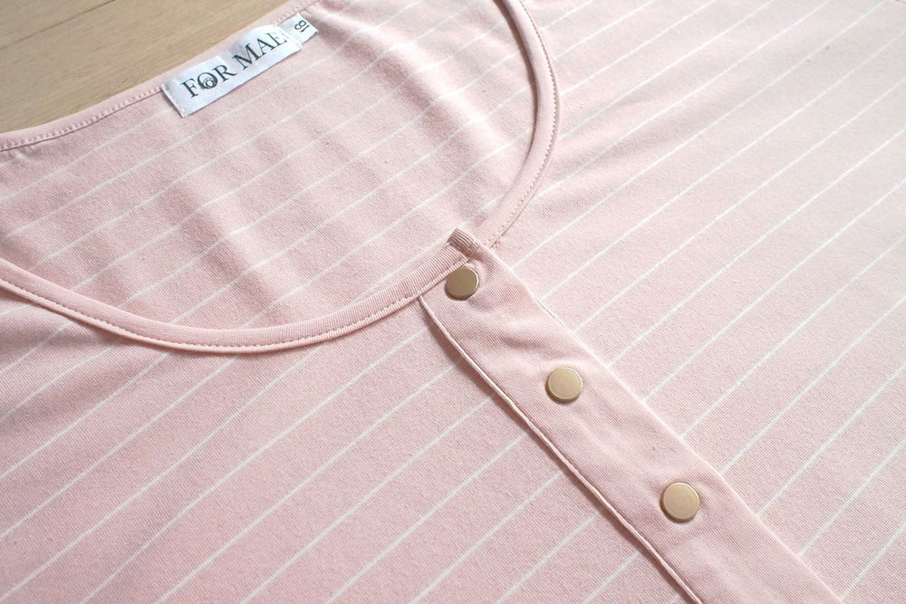 Brooke Button Front Short Sleeve Nursing Tee V3 - Blush Stripe