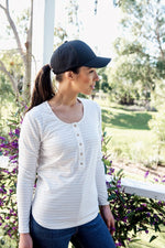 Brooke Button Front Long Sleeve Nursing Tee V3 - Vanilla Stripe