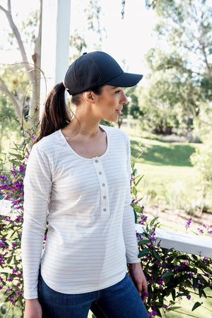 Load image into Gallery viewer, Brooke Button Front Long Sleeve Nursing Tee V3 - Vanilla Stripe