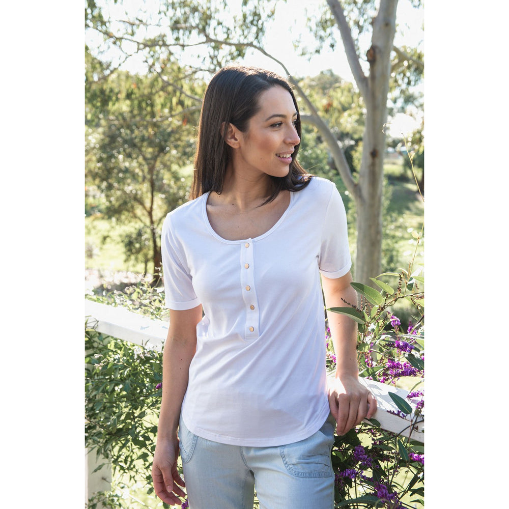 Brooke Button Front Short Sleeve Nursing Tee V3 - White