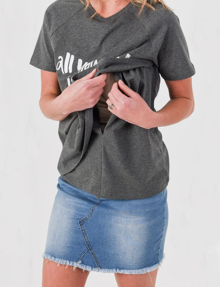 Load image into Gallery viewer, Love Mummy Nursing Tee - Grey - Baby Luno