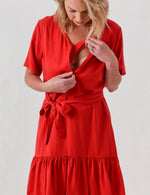 Charley Breastfeeding Dress Red - Baby Luno