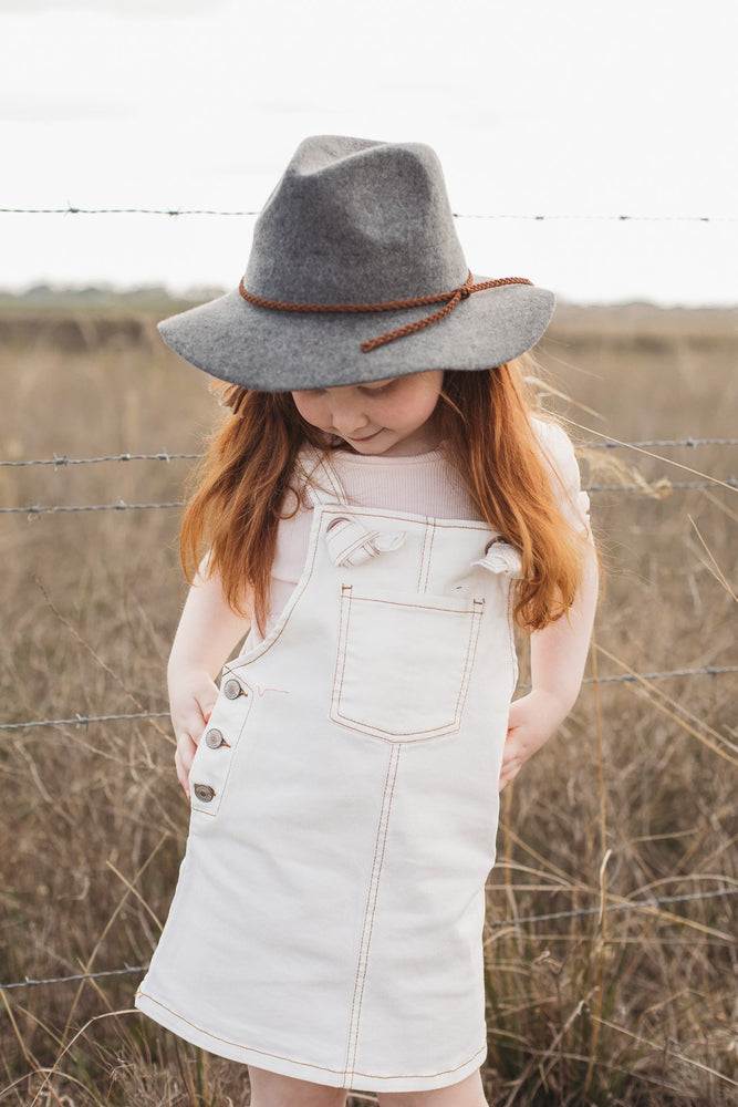 Kids Wool Fedora Hat - Winter Grey
