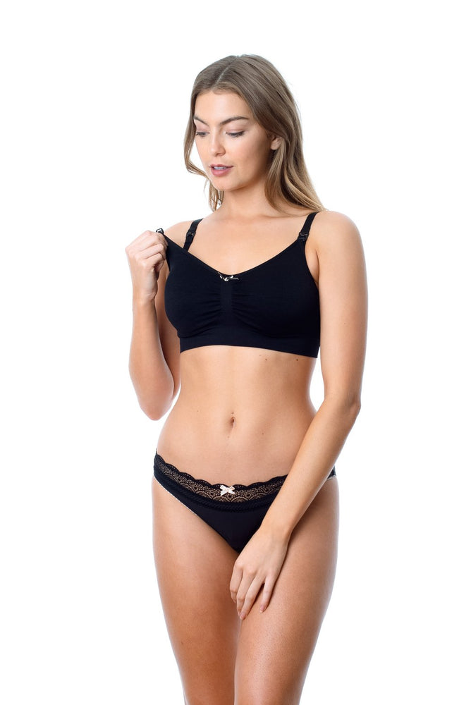 Nursing Sleep/Hospital Bra - Wirefree My Necessity Black