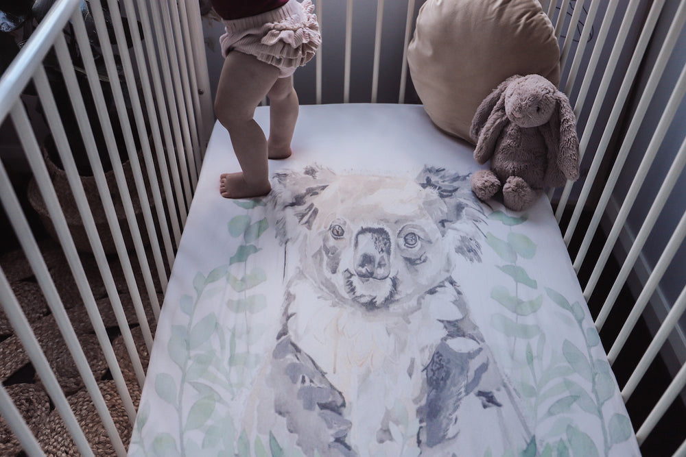 baby luno Bamboo Fitted Cot Sheet - Koala