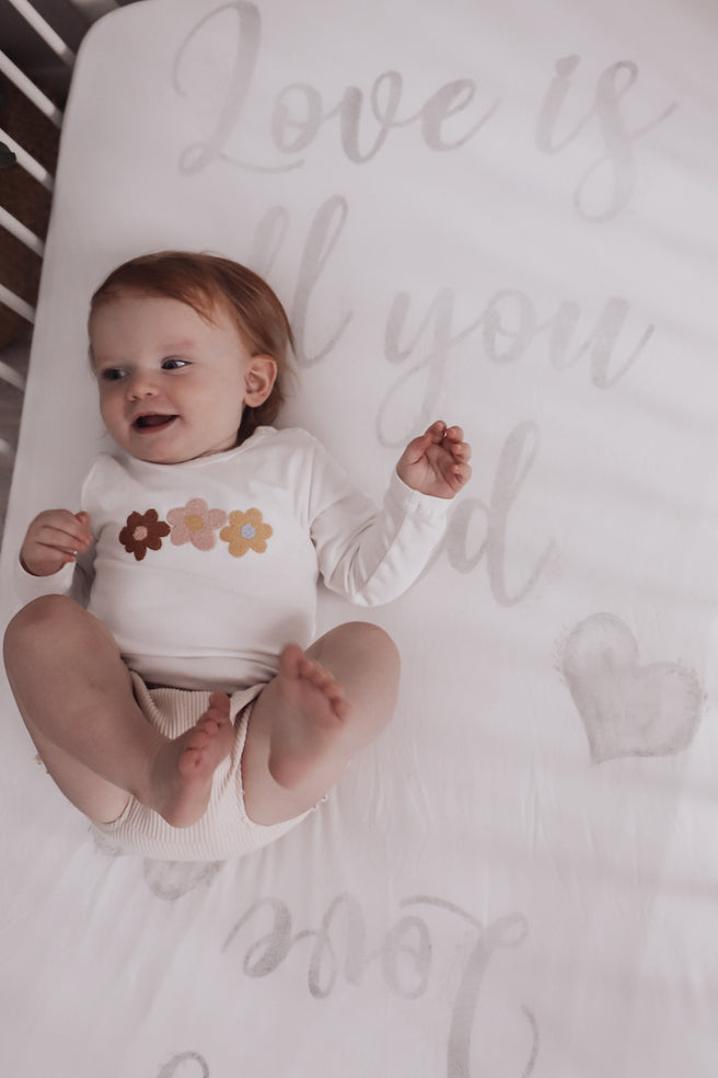 baby luno Bamboo Fitted Cot Sheet - Love Is All You Need