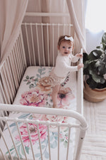 baby luno Bamboo Fitted Cot Sheet - Floral Garden