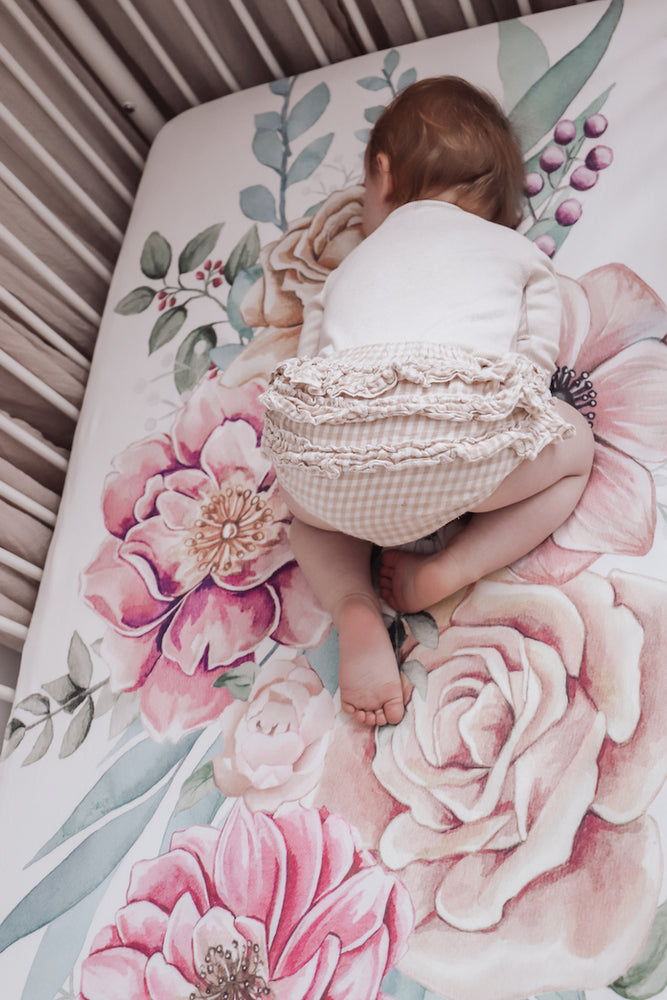Load image into Gallery viewer, baby luno Bamboo Fitted Cot Sheet - Floral Garden