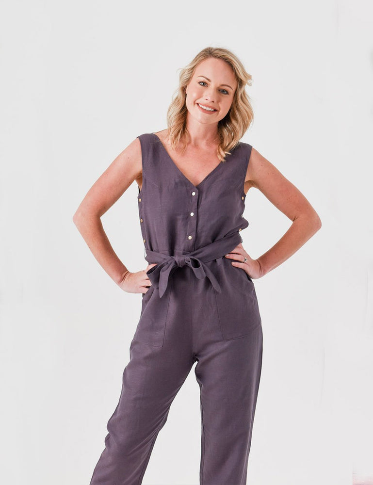 Riley Linen Breastfeeding Jumpsuit - Baby Luno