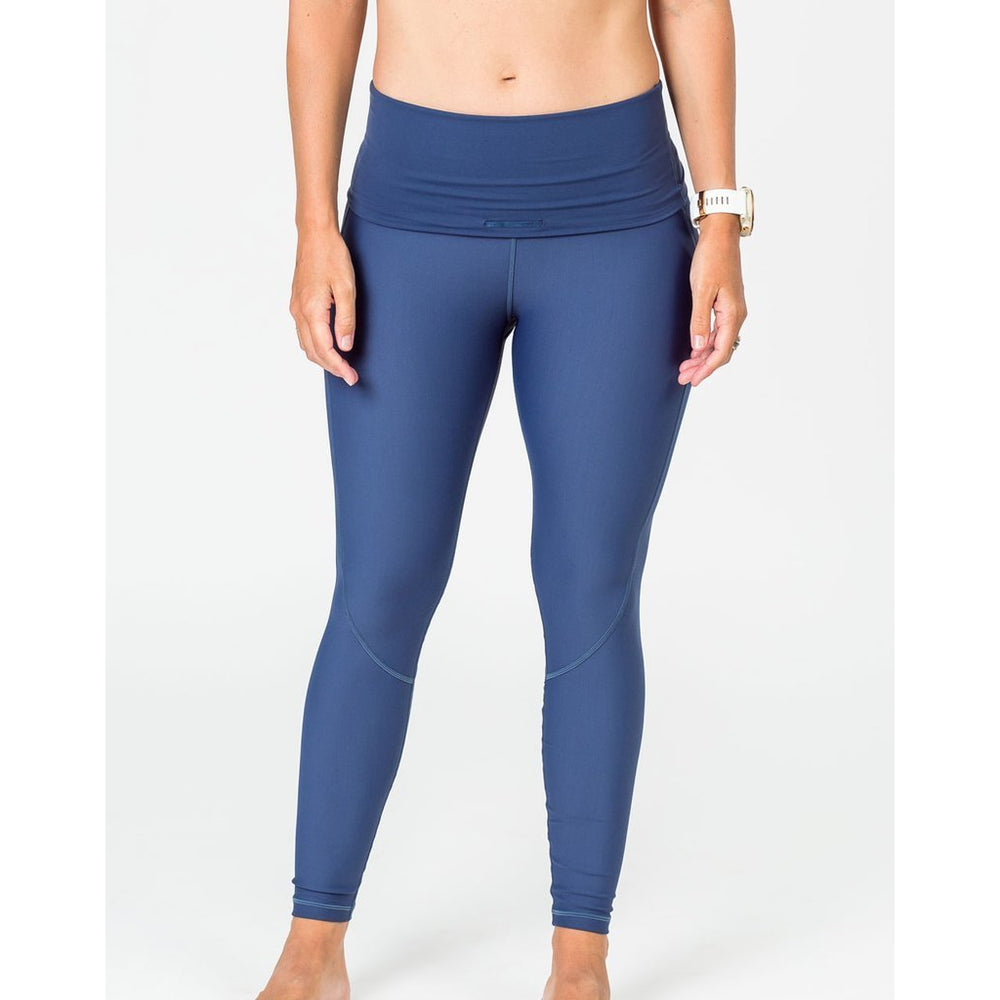 Maternity Leggings - Cadenshae Full Length Pregnancy & Postpartum Bondi Blue