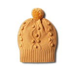 Baby Knitted Hat - Golden Apricot with Baubles