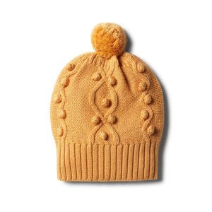 Baby Knitted Hat - Golden Apricot with Baubles - Baby Luno