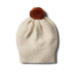 Baby Knitted Hat - Oatmeal Rib with Pom Pom