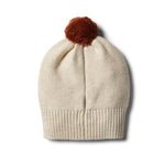 Baby Knitted Hat - Oatmeal Rib with Pom Pom - Baby Luno