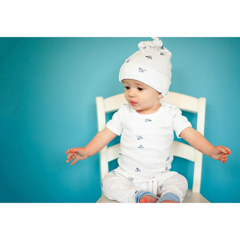Baby Growsuit - Short Sleeve Paper Planes - Baby Luno