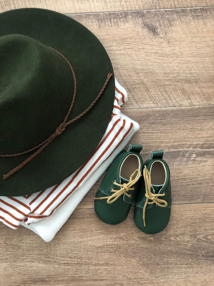 Kids Wool Fedora Hat - Forest Green
