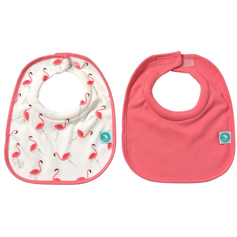 Baby Bib - Roll Neck Flamingo 2-pack - Baby Luno