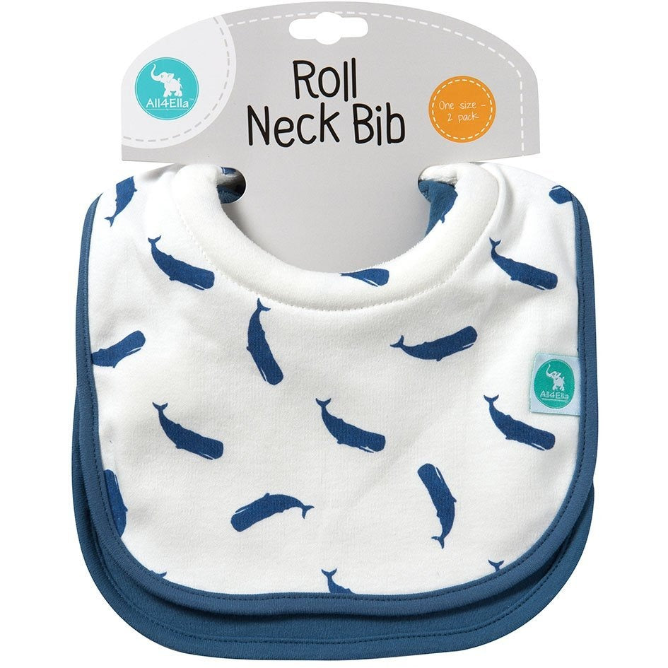 Baby Bib - Roll Neck Whale 2-pack - Baby Luno