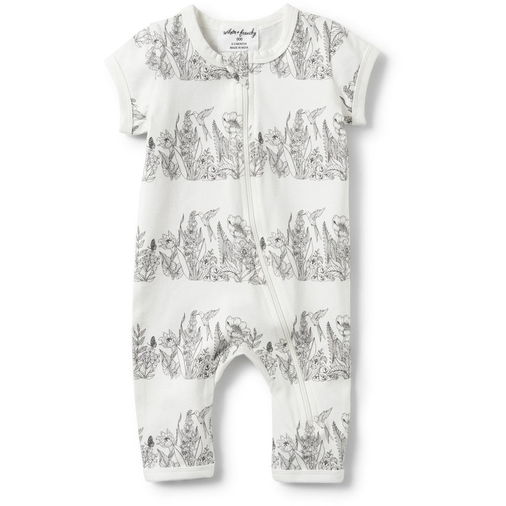 Baby Short Sleeve Zipsuit - Wonderful