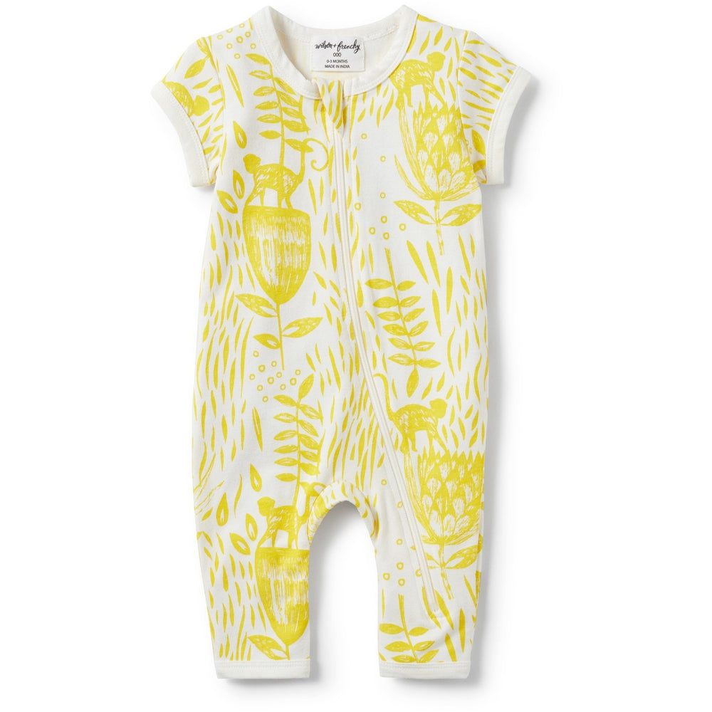 Baby Short Sleeve Zipsuit - Mellow Yellow