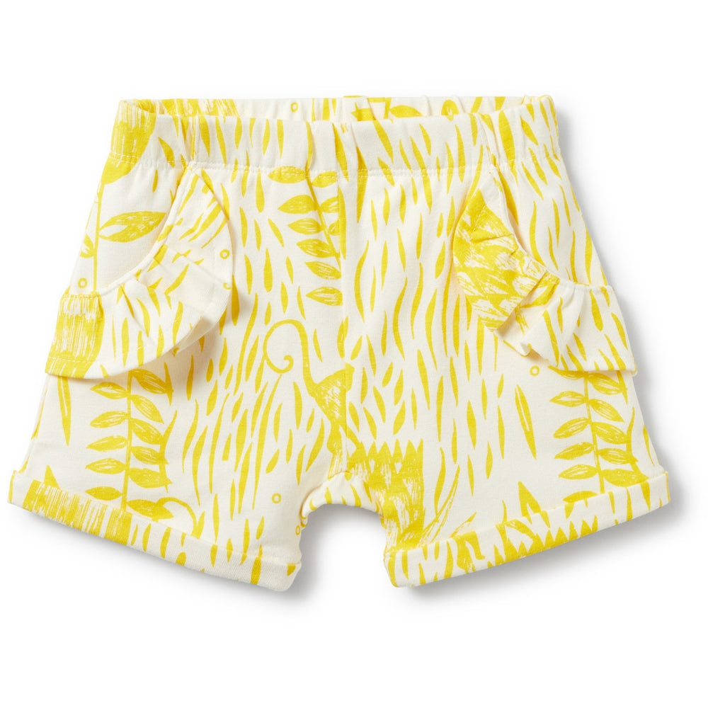 Baby Shorts - Mellow Yellow Ruffle Pocket