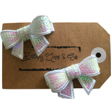 Child Hair Clip - 2-pack White Bow - Baby Luno